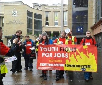 Scotland YFJ marching through Glasgow, October 2012, photo YFJ Scotland