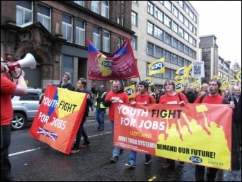 Scotland YFJ leading the PCS contingent through Glasgow,20  October 2012, photo YFJ Scotland