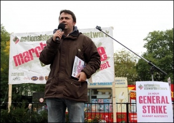 NSSN open mic on the 20 October 2012 TUC demo , photo Senan