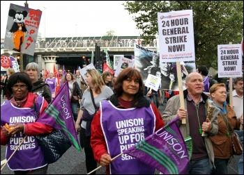 Unison members on TUC demo 20 October 2012 support call for a 24 hour general strike , photo Senan