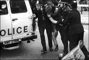 Miners strike 1984-85 Police arrest Sheffield miner 19 April 1984 , photo Jacob Sutton