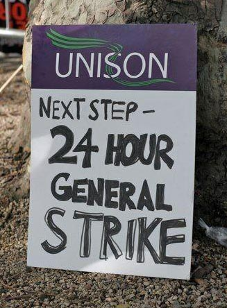 A Unison member's placard on the 20th October TUC demo, photo  Socialist Party
