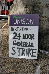 A Unison member's placard on the 20th October TUC demo, photo by  Socialist Party