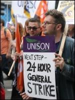TUC demo 20 October 2012 placard for a 24 hour general strike , photo Becky Davis