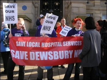 200 protestors march to stop cuts at Dewsbury hospital, photo Yorkshire Socialist Party