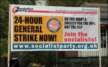 Socialist Party billboard on the TUC demo 20 October 2012, photo by Senan