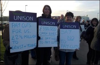 Admin staff strike, Mid Yorkshire NHS Trust, 1st November 2012, photo Iain Dalton