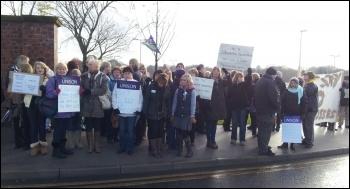 Admin staff strike, Mid Yorkshire NHS Trust, 1st November 2012, photo by Iain Dalton