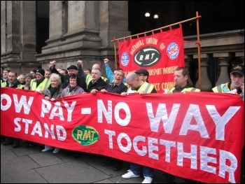 RMT cleaners at Churchill and ISS taking strike action, 2.11.12, photo Elaine Brunskill