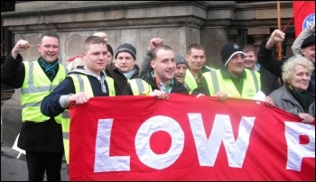 RMT cleaners at companies Churchill and ISS take strike action, 2.11.12, photo by Elaine Brunskill