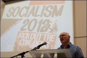 Peter Taaffe addressing the Socialism 2012 Saturday rally , photo Paul Mattsson