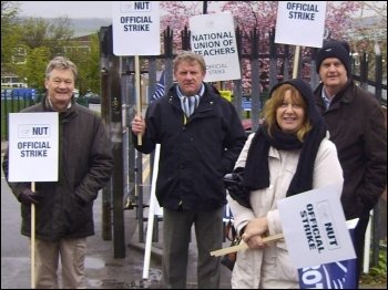 Rotherham TUSC candidate Ralph Dyson, second left, on the Rawmarsh school picket line, photo by Yorkshire Socialist Party
