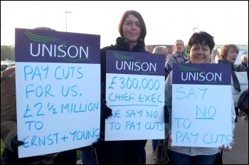 Admin staff strike, Mid Yorkshire NHS Trust, 1st November 2012 , photo Iain Dalton