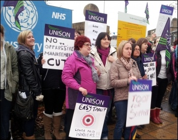 Three-day strike of Mid Yorkshire Unison NHS staff against pay cuts and mass downgrading, photo Iain Dalton