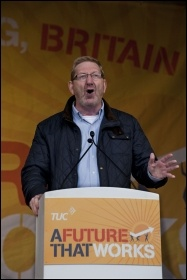 Len McCluskey of Unite speaking at the 20 October 2012 TUC demo against austerity, photo Paul Mattsson