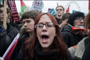 Students on the NUS national demonstration 12 November against the government attacks on university education, photo Paul Mattsson