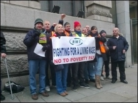 RMT cleaners taking strike action, 30.11.12,  employed by Carlisle company contracted to TransPennine Express, photo by Hugh Caffrey