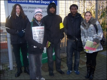 ISS cleaners and supporters at Stratford Market rail depot 30.11.12, photo by Bob Severn
