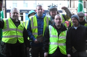 RMT train cleaners from Churchill and ISS, who have taken strike action, protesting at Newcastle Central station, photo Elaine Brunskill