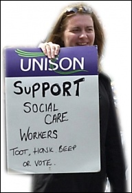 Social care workers on strike in Scotland, February 2011, photo by Duncan Brown