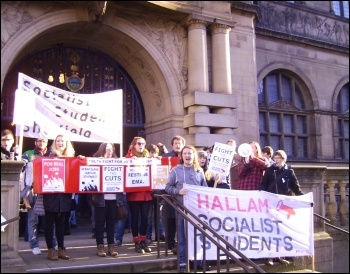 Sheffield Youth Fight for Jobs and Socialist Students lobby Sheffield Town Hall before presenting petitions demanding the Labour Council restore EMA, photo A Tice