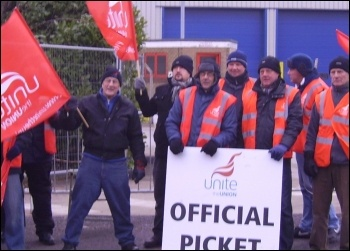 Striking Tesco drivers on the picket line , photo A Tice