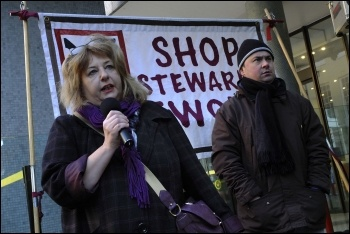 PCS president Janice Godrich addressing the lobby of the TUC, 11.12.12, photo by Paul Mattsson