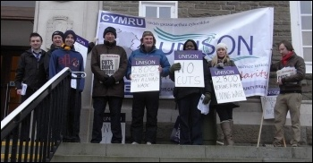 Lobby of Carmarthenshire Council by Unison, December 2012, photo Scott Jones