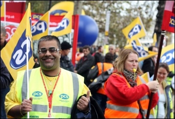 PCS members on the 2012 Oct 20th TUC demo, photo by Senan