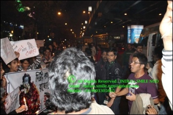Saptarshi Banerjee (New Socialist Alternative) addressing protestors in Kolkata, India, photo India's Smile NGO