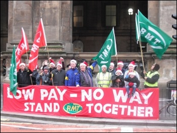 Tyne and Wear Metro strikers tell bosses to end poverty pay, photo by E Brunskill