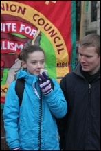 Speaking at the rally, photo Becky Davies