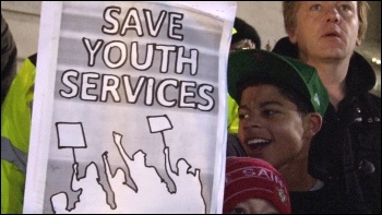 Save Southampton City Youth Services held a lively protest outside the civic centre supported by anti-cuts councillors Keith Morrell and Don Thomas, photo Socialist Party