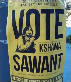 Kshama Sawant Campaign poster, photo by Socialist Alternative