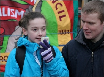 Hannah Mainstone speaking on the Cardiff Against the Cuts protest (with Ross Saunders), photo Becky Davis