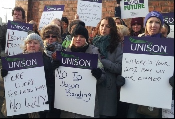 Unison NHS workers on strike against huge cuts in the Mid-Yorkshire Trust hospitals, photo Iain Dalton