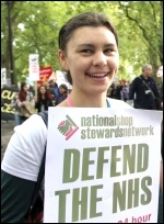 Nurse protesting on the 20 October 2012 TUC demo , photo Senan