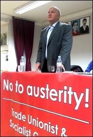 Bob Crow, RMT general secretary, addresses a Hackney TUSC meeting 18.2.13, photo Neil Cafferkey
