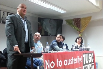 Bob Crow, RMT general secretary, addresses a Hackney TUSC meeting 18.2.13, photo Neil Cafferkey