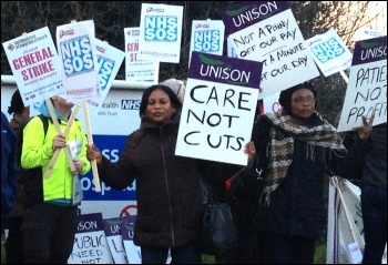 Protest by domestics at Whipps Cross hospital against contractor Initial attempting cuts to pay and hours, photo Suzanne Beishon