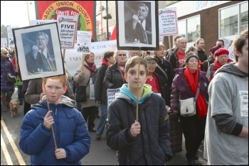 Over 200 determined campaigners marched through Caerphilly town centre on Saturday 16 February, demanding the return of a local A&E, photo Becky Davis