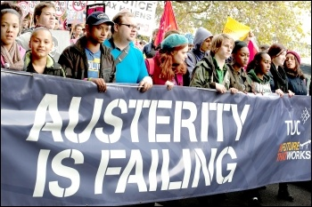 Austerity is failing - banner on the 20 October 2012 TUC demonstration against austerity, photo by Paul Mattsson