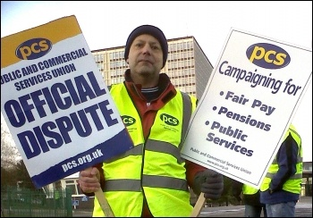 Dave Warren, PCS rep Swansea DVLA, takes part in the PCS National day of protest on 30 November 2012, photo R. Job