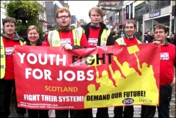 Scotland Youth Fight for Jobs arrives in Glasgow, 20 October 2012 , photo Matt Dobson