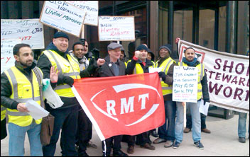RMT security and safety staff strike against bullying and harassment and an attempt to impose workplace changes without agreement 25th February 2013 , photo P Mitchell