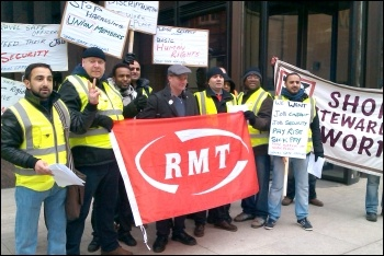 RMT security and safety staff strike against bullying and harassment and an attempt to impose workplace changes without agreement 25th February 2013, photo P Mitchell