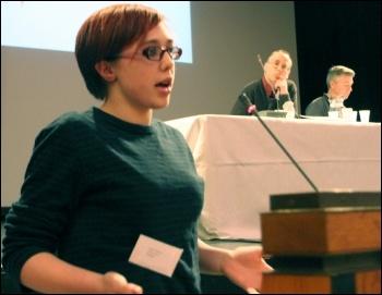 Helen Pattison at Socialist Party congress 2013, photo Senan