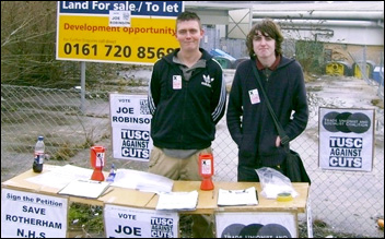 Successful TUSC candidate Joe Robinson (left) with Shaun on a TUSC stall in Maltby, Yorkshire
