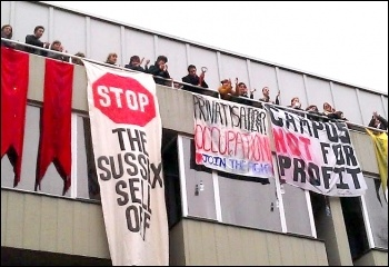 Student occupation continues at Sussex 13-3-13, photo Brighton and Hove Socialist Party
