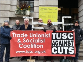 TUSC protest outside Camden town hall, March 2013, photo Neil Cafferky